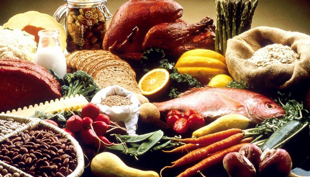fruits, veggies, fish and healthy grains