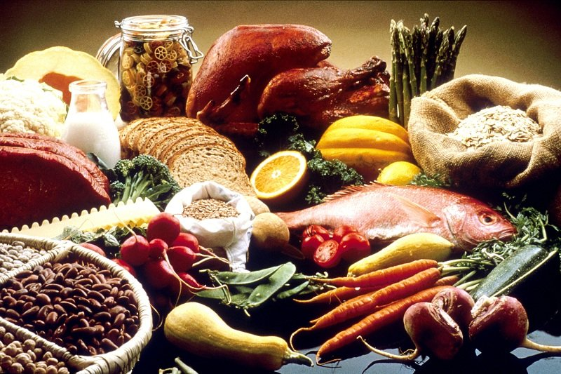 fruits, veggies, fish and healthy grains