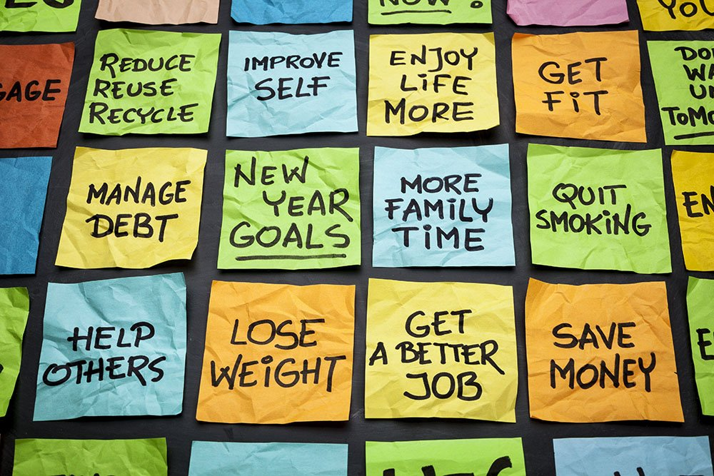 new years resolutions sticky notes