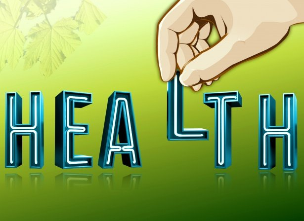 hand grabbing health words