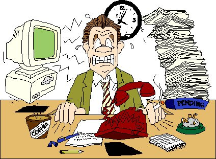 cartoon of man stressed at work